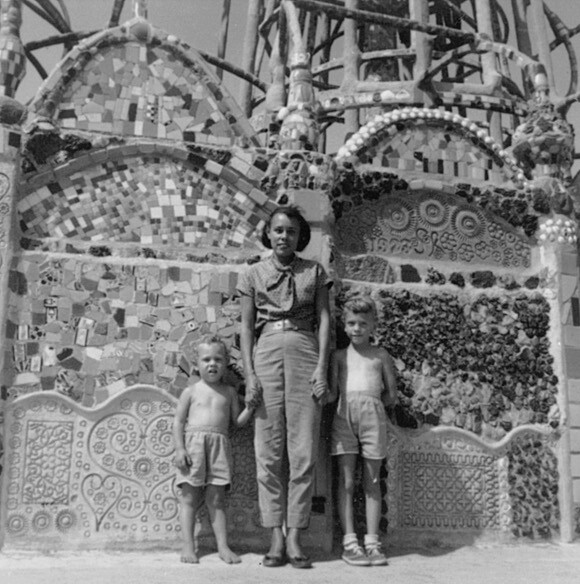 Betye Saar and two daughters at Watts Tower. Unknown date. Saar Family photograph.