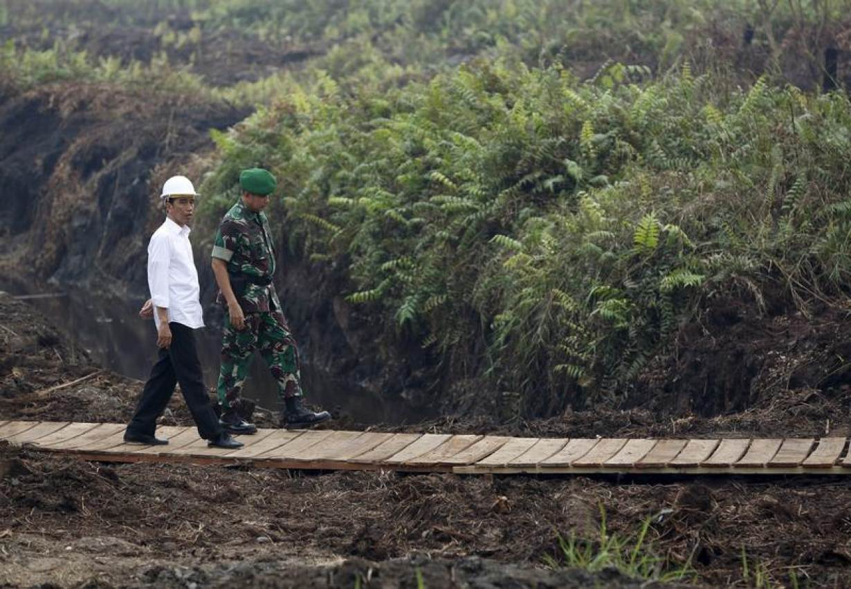 FILE PHOTO: Indonesian President Joko Widodo (L) inspects a newly built canal to prevent peatland fires in Pulang Pisau, east of Palangkaraya, central Kalimantan, October 31, 2015. | REUTERS/Darren Whiteside