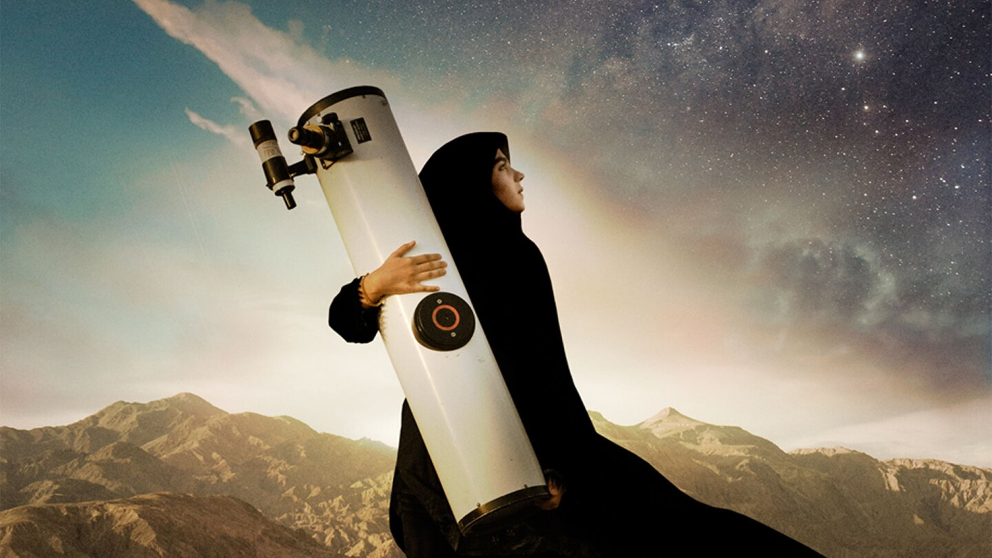 "Sepideh holding a telescope. | ""Sepideh"""