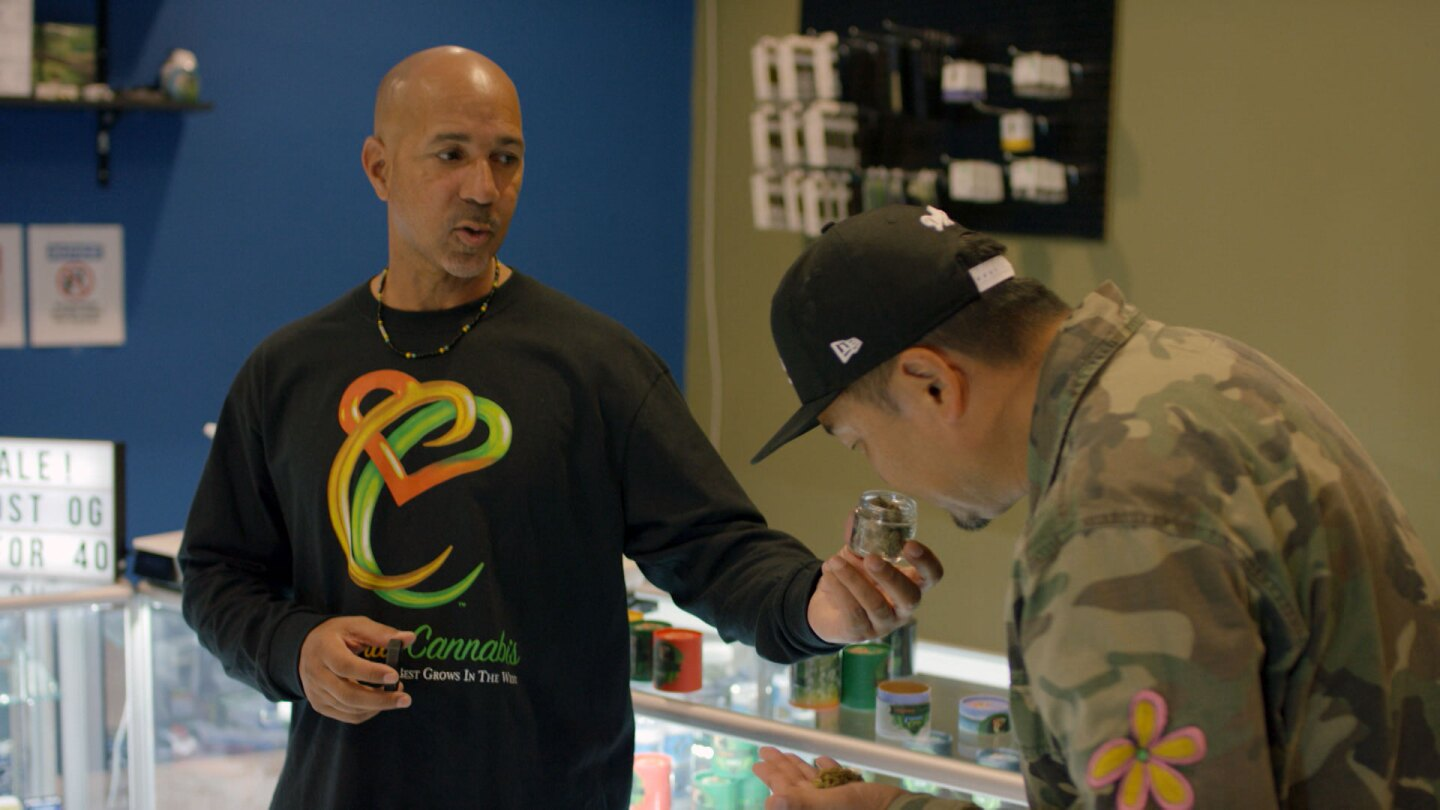 "Virgil Grant of California Cannabis opens a can of his proprietary strain for Roy Choi to smell. | Still from ""Broken Bread"