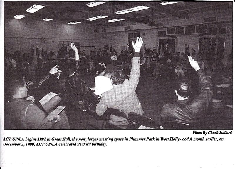 ACT UP/L.A. meeting at Plummer Park in January 1991 / By: Chuck Stallard, courtesy of Save Plummer Park