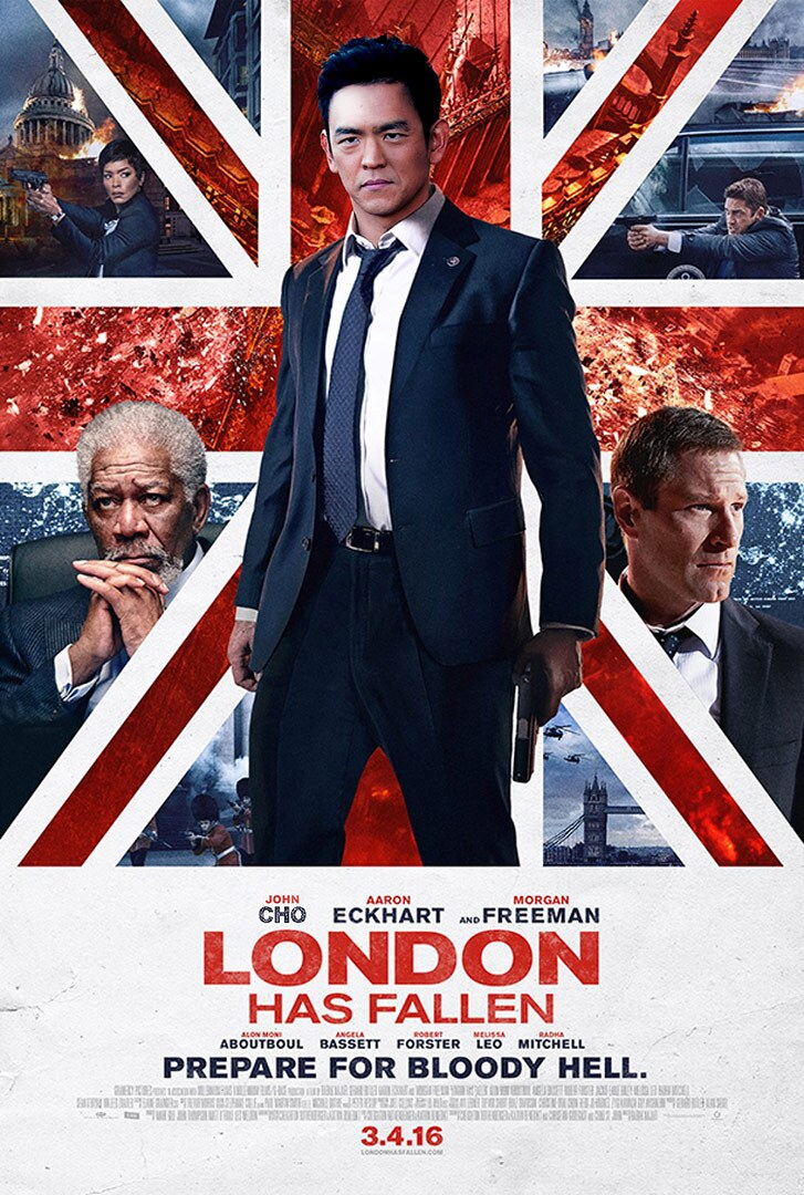 Movie poster featuring a man in a suit standing in front of a Union Jack emblazoned with two men's faces on it.
