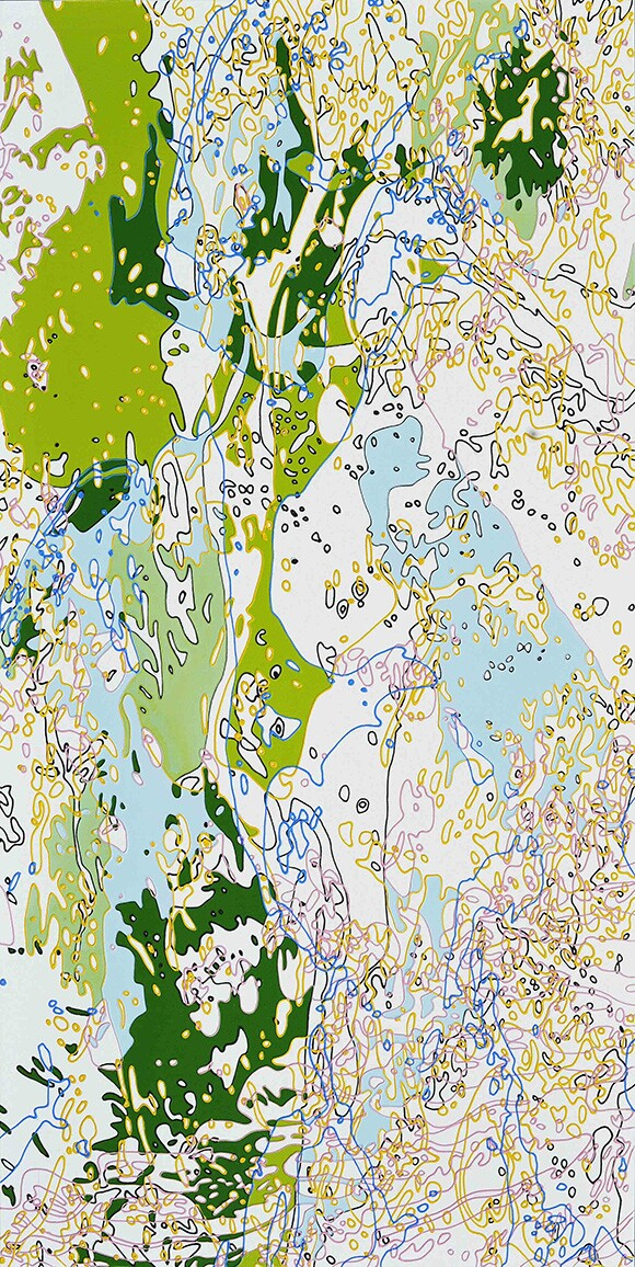 """""""Spring Snow"""" by Xi Hou, 2013, acrylic on canvas, 48 x 24"""" 