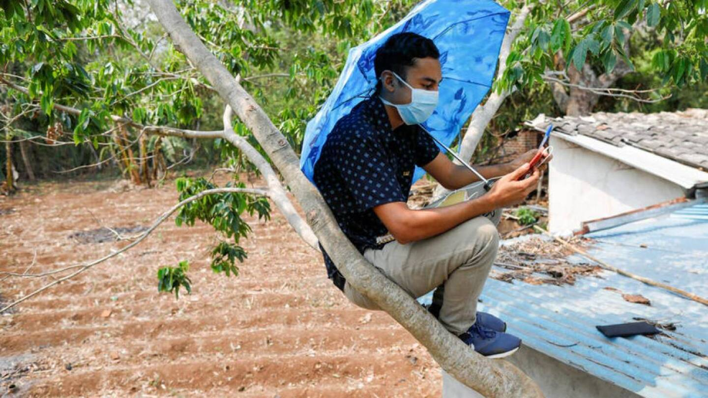 Alexander Contreras sits on a tree to receive a university class on his cellphone because it is the only place where he has signal during a quarantine throughout the country, as the government undertakes steadily stricter measures