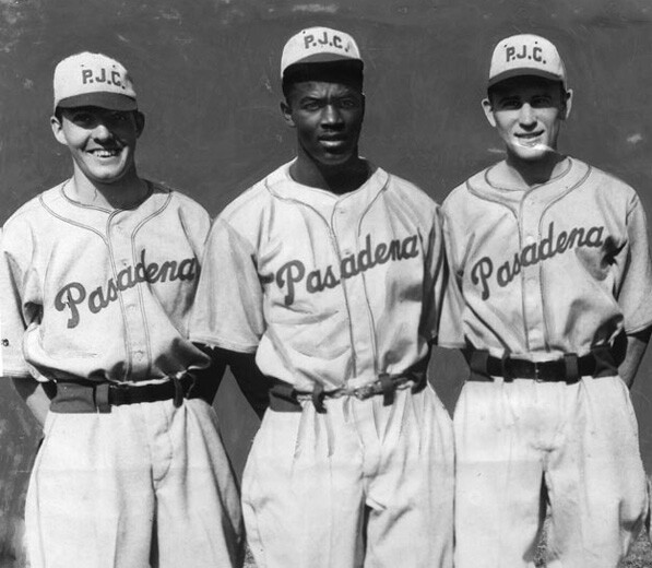 The future Dodgers second-baseman Jackie Robinson (middle) played baseball and football at Muir High School and Pasadena Junior College before transferring to UCLA. Courtesy of the Herald-Examiner Collection, Los Angeles Public Library.