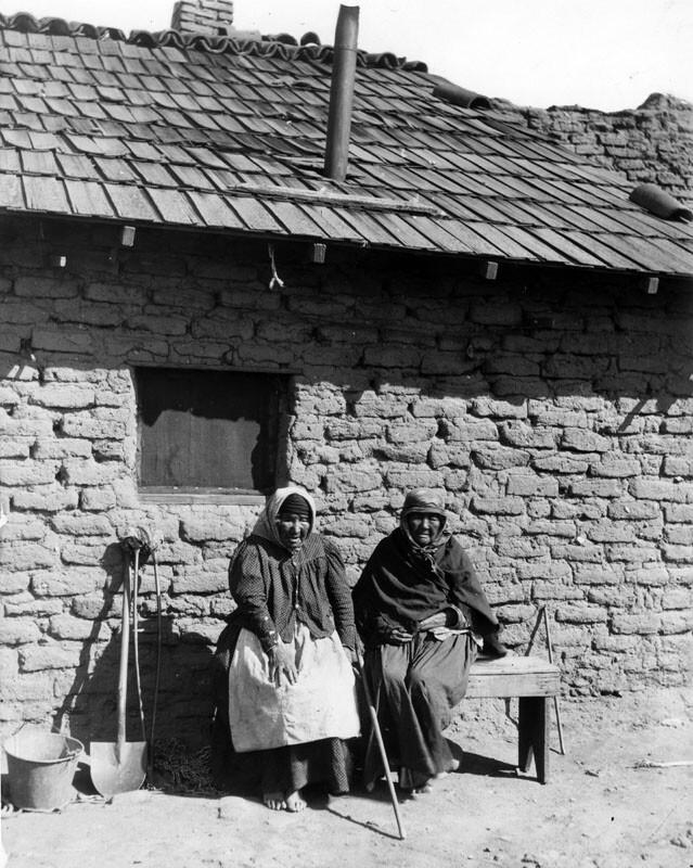 Two Indian women at San Fernando Rey de España Mission