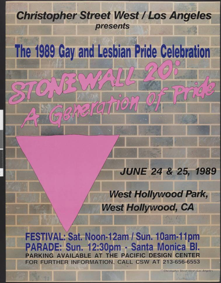 "Christopher Street West/Los Angeles presents the 1989 gay and lesbian pride celebration poster featuring the words ""Stonewall 20: a generation of pride; June 24 & 25, 198, West Hollywood Park, West Hollywood, CA."" 