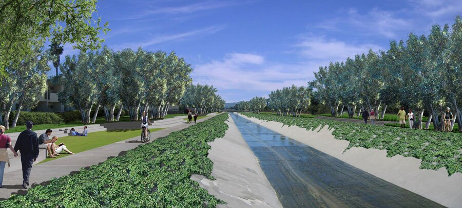 "LA River, ""greening"" of sections through Canoga Park - After"