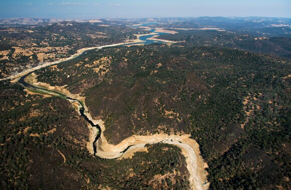 An aerial view of Nacimiento Lake and the Nacimiento River in northern San Luis Obispo County. | Photo: Brittany App.