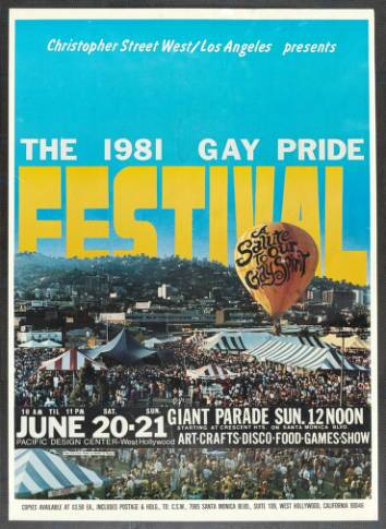 "Christopher Street West/Los Angeles presents the 1981 gay pride festival featuring the words ""A salute to our gay spirit,"" poster. 