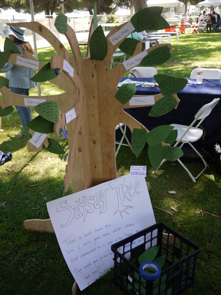 A SaySay tree was installed in the pavilion so that participants could also write their stories on leaves and post onto the tree.