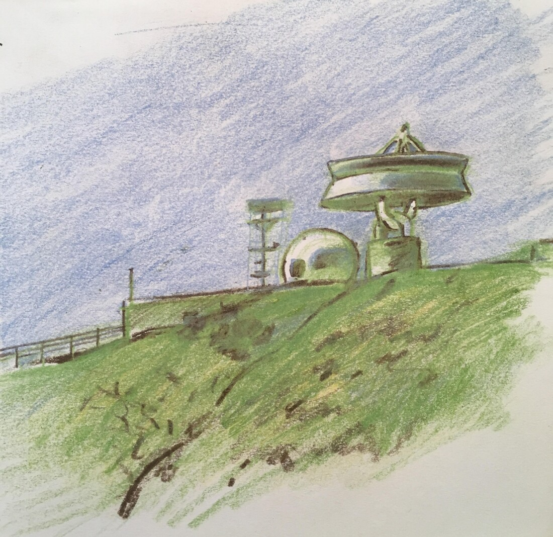 Sketch of Laguna Peak Tracking Station, 2016. Colored pencil on paper | Joseph Bolstad