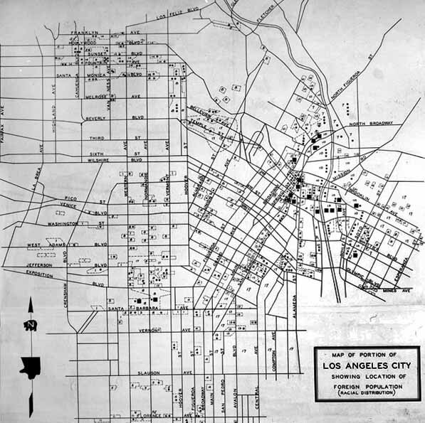 Bent: Map of 'racial areas' of Los Angeles, 1938