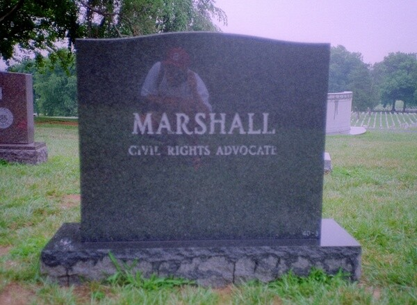Thurgood Marshall's gravestone at Arlington Cemetery