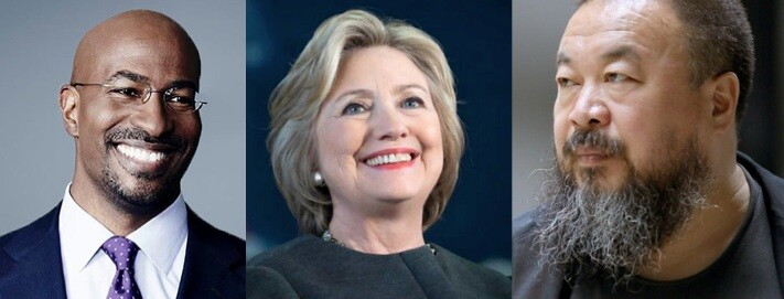 Images (left to right) of Van Jones, Hillary Clinton, and Ai WeiWei Courtesy of Link TV