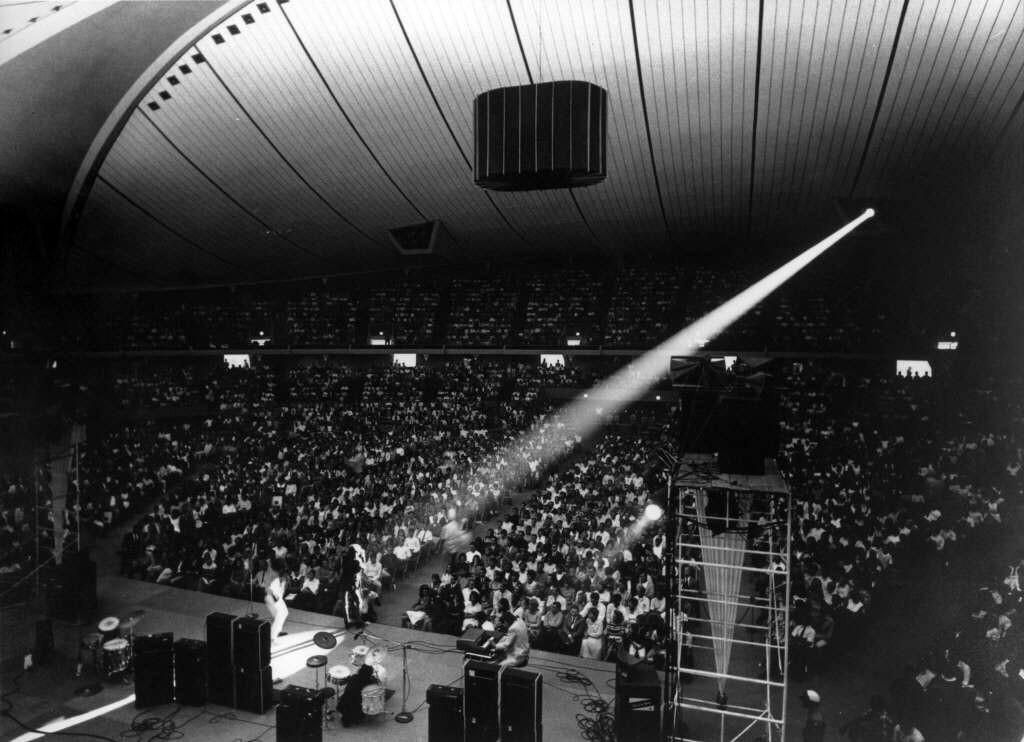 The Doors and Jefferson Airplane were among the first musical acts to play inside the arena. Courtesy of the Anaheim Public Library's Anaheim History Room.