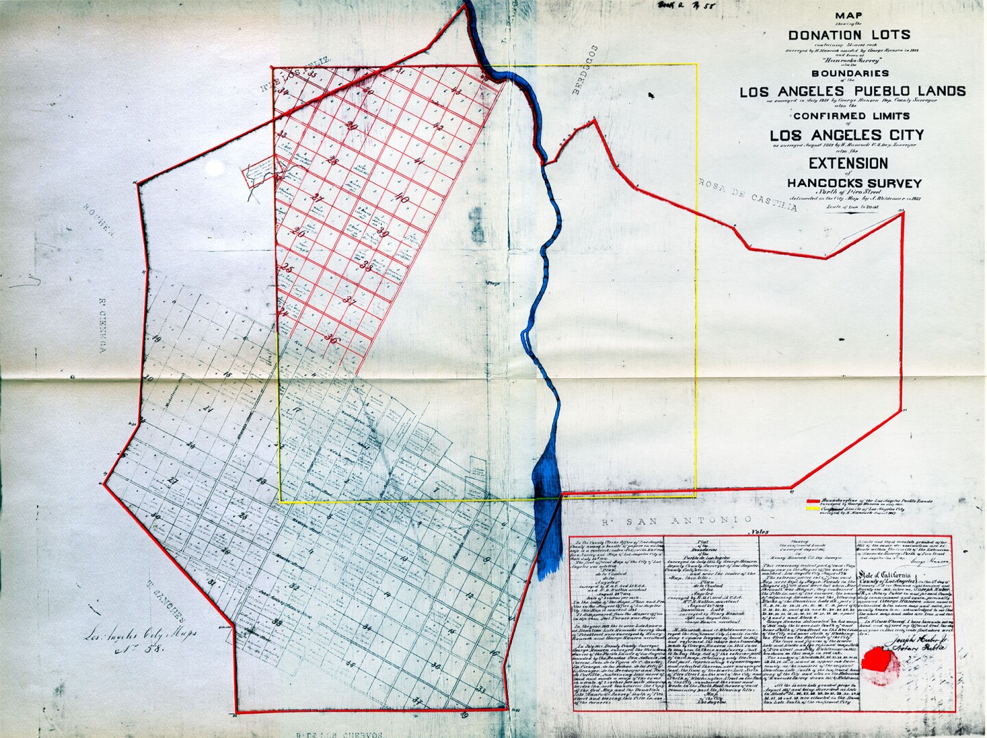 This 1857 survey map sketches out a plan to name Los Angeles streets after U.S. presidents and governors of Mexican California. Scanned from a reproduction in the USC Libraries' Special Collections. Original at the Los Angeles City Archives.