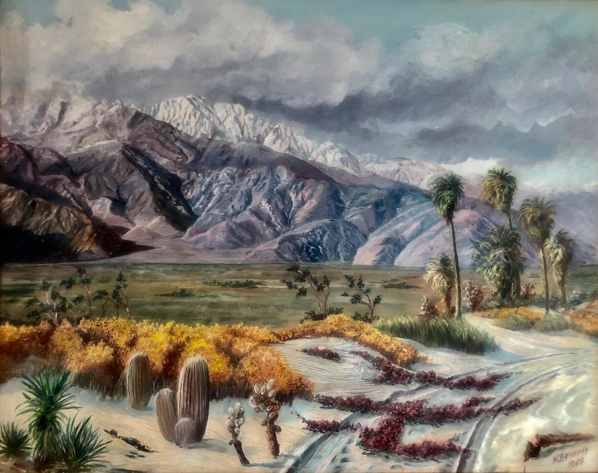 A Harry Bennett painting that depicts a snowy Mount San Jacinto from the Desert Hot Springs.