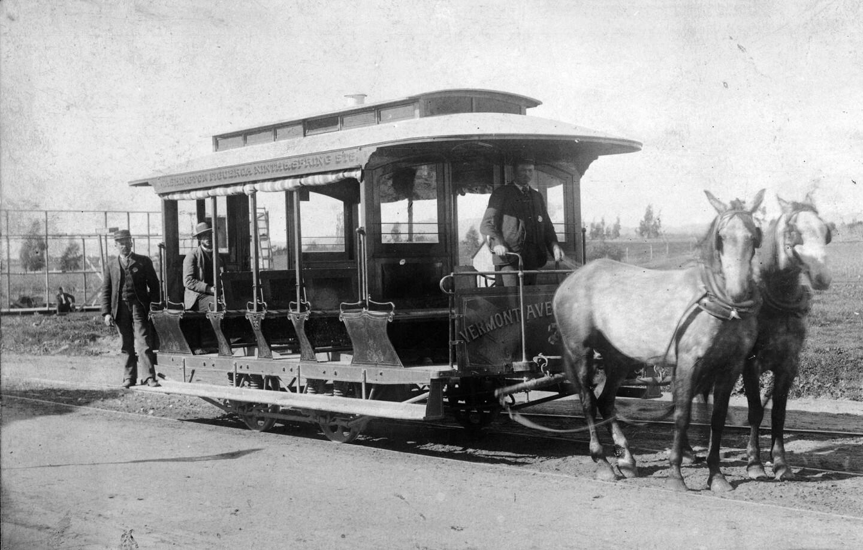A two-horse City-Central streetcar, circa 1886. Courtesy of the California Historical Society Collection, USC Libraries.