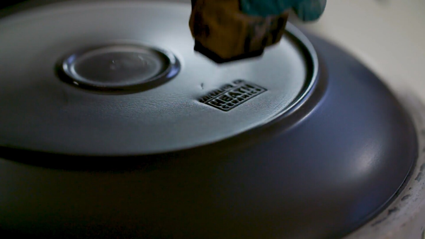 """Heathware being stamped 