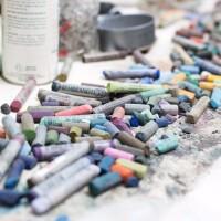 Pastels in Sylvia Tidwell's studio.| Magali Gauthier Santa Fe Art Colony