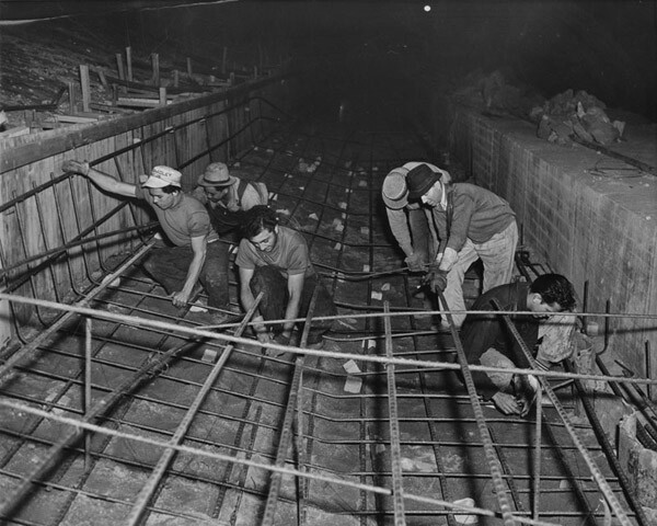 Men laying rebar in the channel, 1938. Courtesy of the Los Angeles Public Library.