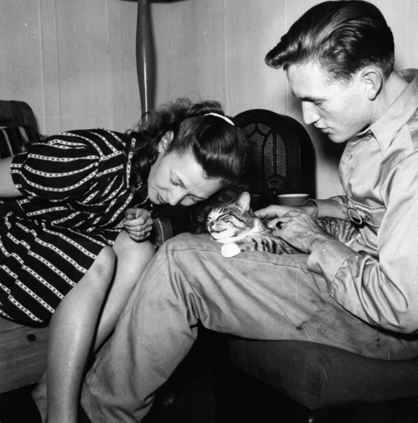 Cole Weston with his wife Dorothy and their cat
