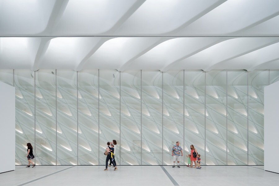The Broad's third-floor galleries with skylights and interior veil. | Photo: Iwan Baan, courtesy of The Broad and Diller Scofidio + Renfro.