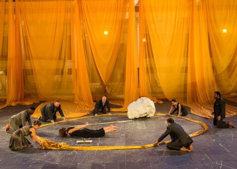 "SITI Company cast in ""Persians"" by Aeschylus at the Getty Villa. | © 2014 Craig Schwartz."
