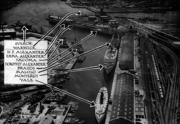 Ten merchant ships, valued at $35,000,000, in one small area of the port in 1932 | Los Angeles Public Library