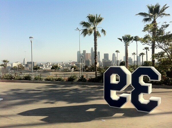 Retired numbers and the view of DTLA beyond the sea of parking lots