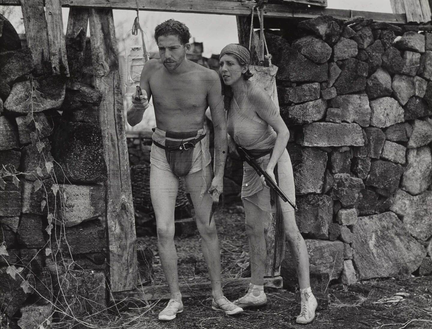 "Still from the silent short pirate adventure film, ""The Empress of Floreana"" showing the Empress Eloise Bosquet de Wagner Wehrborn), left, and her admirer (Robert Philippson), right, 1934 January 29. 