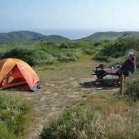 A backcountry campsite at Crystal Cove State Park.