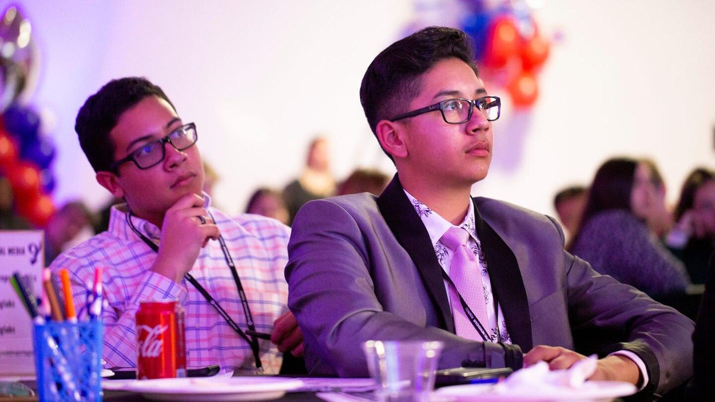 Francisco Antonio Moreno Jr. and Evan Espinoza-Conde at the Dec. 19, 2019 Democratic presidential debate. | PBS NewsHour Student Reporting Labs
