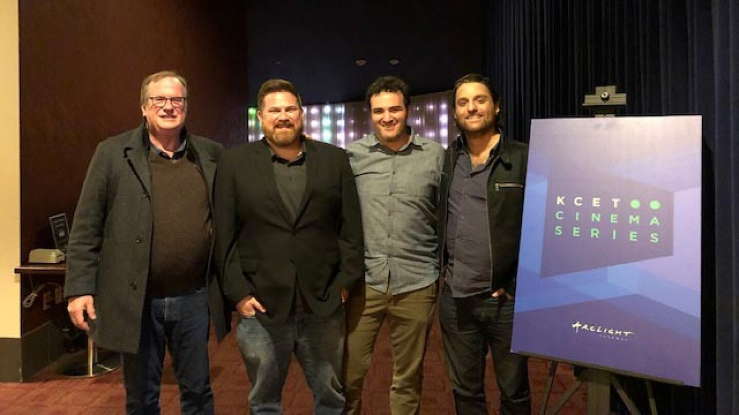 "Host Pete Hammond poses with Matt Ratner, Chris Mangano and John Herman at the KCET Cinema Series Q&A session for their film ""Standing Up, Falling Down."""