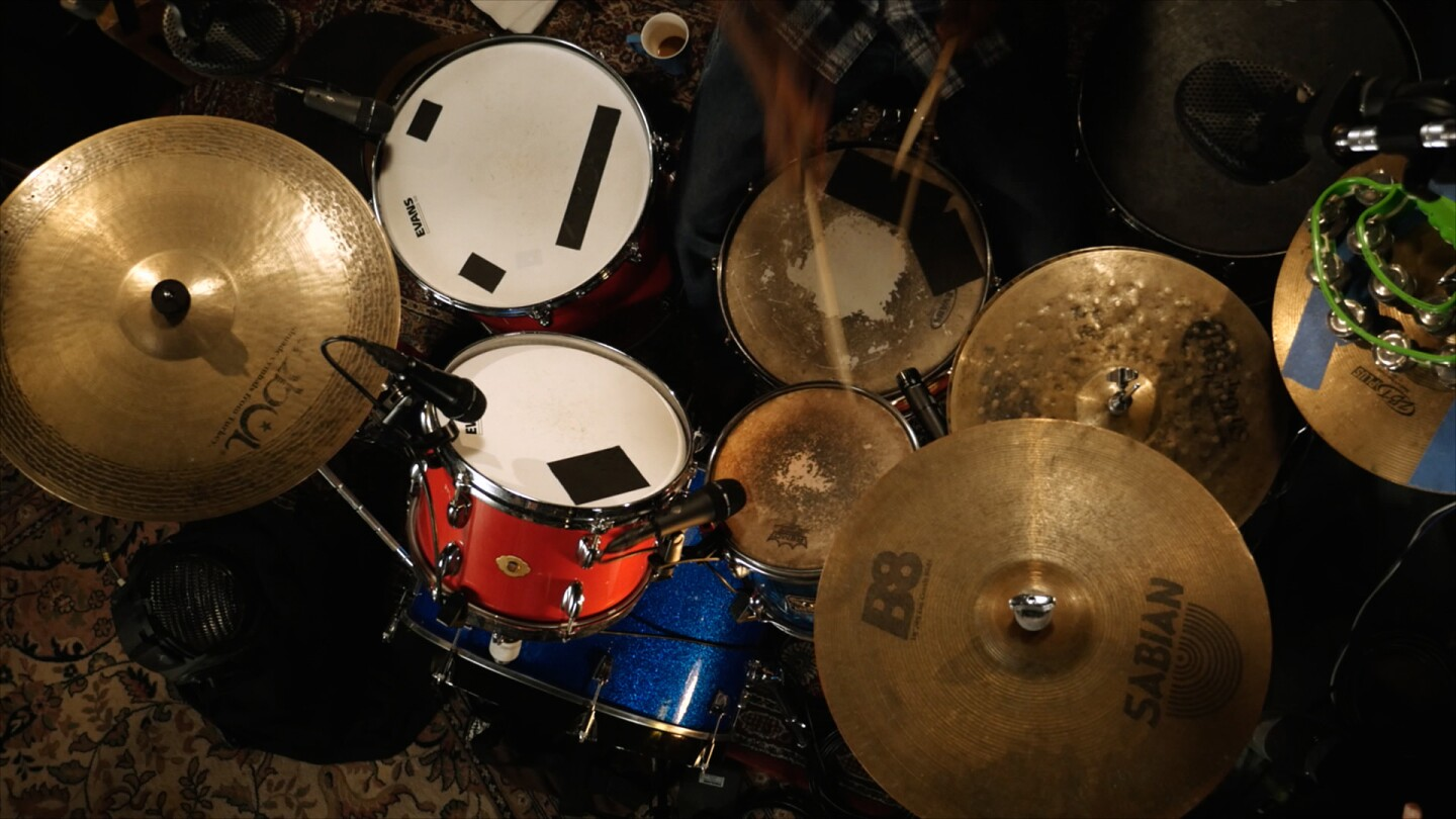 "Bird's eye view of Mekala Session's drum set | Still from ""The New West Coast Jazz"" ab s11"