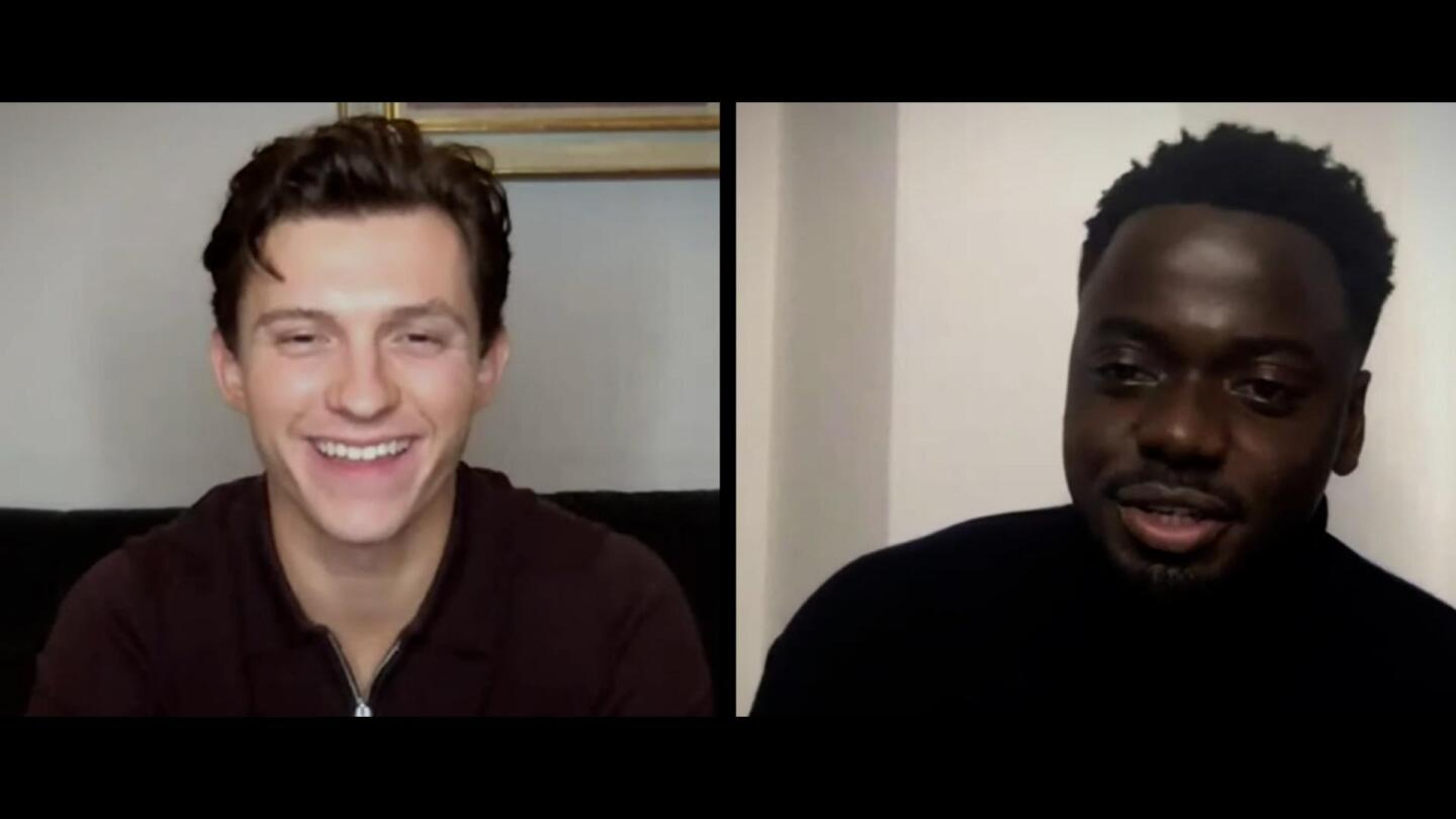 Tom Holland speaking with Daniel Kaluuya