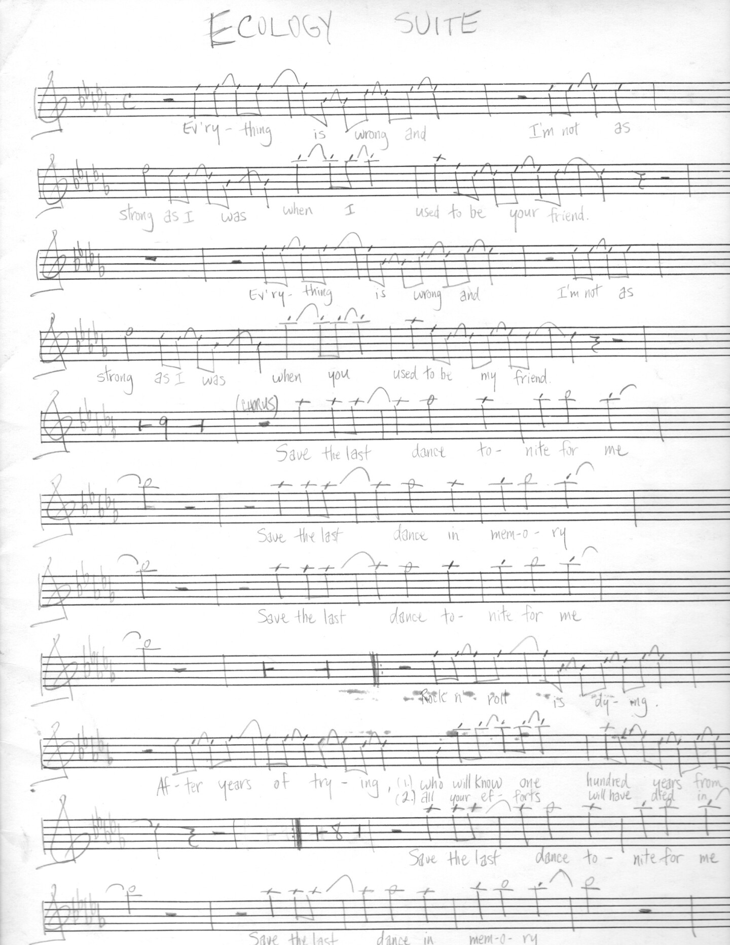 "Music sheet for ""Ecology Suite"" by Steven J. Salazar."