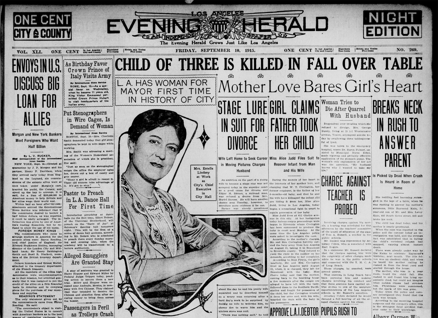 Acting Mayor Lindsey on the front page of the Los Angeles Herald
