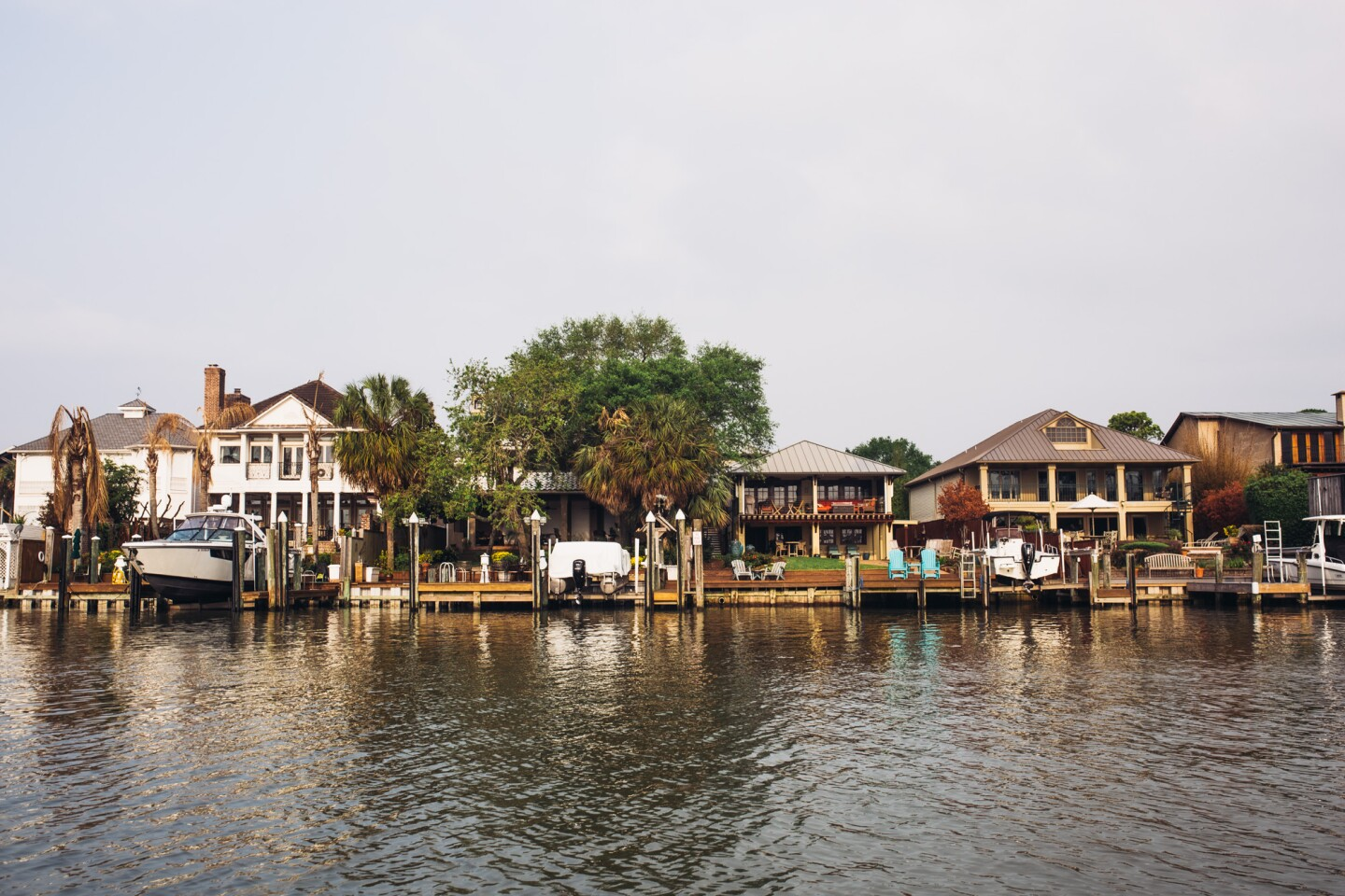 Homes and fishing villages on the edge of Clear Lake, Texas.