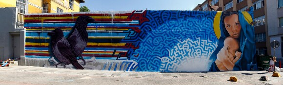 [Click to enlarge] Completed mural in Istanbul by Levi Ponce and Kristy Sandoval.   Photo: Mehmet Naci Demirkol.