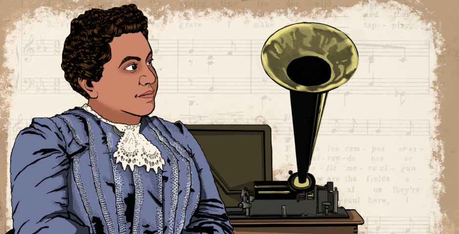 A coloring page created by the Los Angeles Public Library's Octavia Lab. An illustration of Manuela C. García sitting next to a phonograph. Behind her is a faint sheet music background.