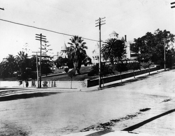 Wilshire Boulevard at Lucas Avenue, ca. 1905. The roads are still unpaved | Security Pacific National Bank Collection, Courtesy of the Los Angeles Public Library