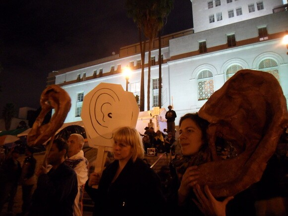 ARLA Ear Strengthening Performance, Occupy LA site, November 11, 2011. | Photo: Courtesy of Carol Cheh.