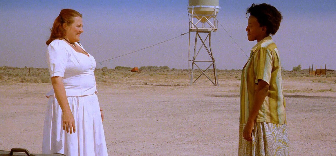 """A scene from """"Bagdad Café"""" (1987) starring CCH Pounder, Marianne Sägebrecht and Jack Palance. Island Pictures."""