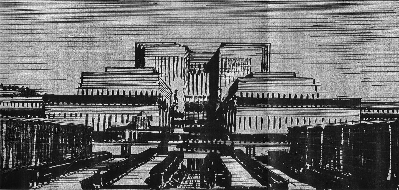 Lloyd Wright rendering for Civic Center