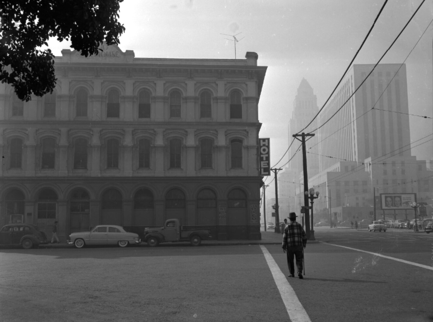 Exterior view of the Pico House and surrounding buildings, Los Angeles, Calif., 1956