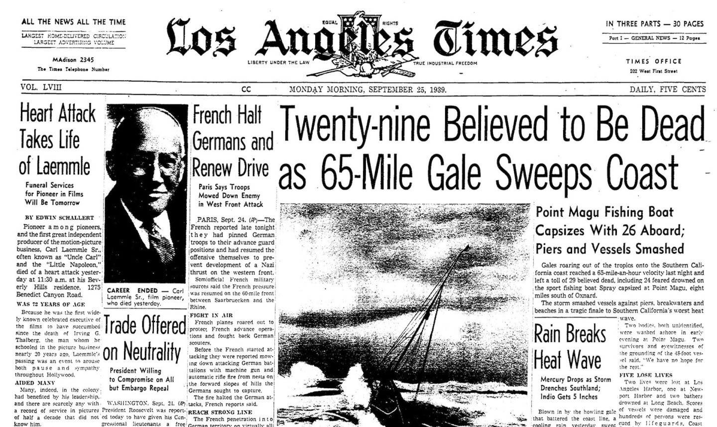 Front page of the Los Angeles Times on Sept. 25, 1939