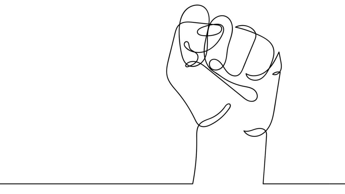 Graphic of a white fist