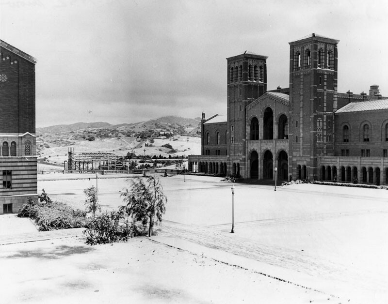 Snow on the UCLA campus in January 1932